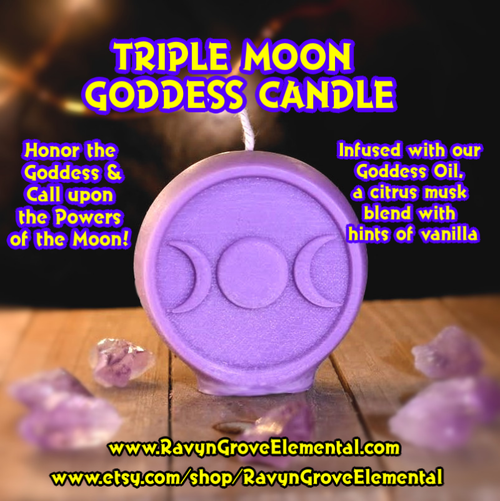 Triple Moon Triple Goddess Candle - Infused with our Goddess Oil, a citrus musk blend with hints of vanilla! Honor the Devine Feminine! Front