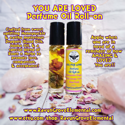 Apply our YOU ARE LOVED Perfume Oil when you are in need of a reminder of how AMAZING and LOVED you are!! Crafted from sweet uplifting Honeysuckle and earthy mysterious Dragon's Blood Oils, Jojoba Oil, and a special blend of roots n herbs to promote love, compassion, and acceptance.