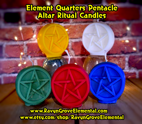 Honor the Elements and Call the Quarters with these Pentacle Altar Ritual Candles crafted by Ravyn Grove Elemental LLC.