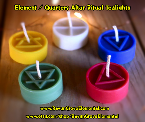 Element Quarters Altar Ritual Tealights crafted by Ravyn Grove Elemental LLC - Earth, Air, Fire, Water, Spirit / North, East, South, West