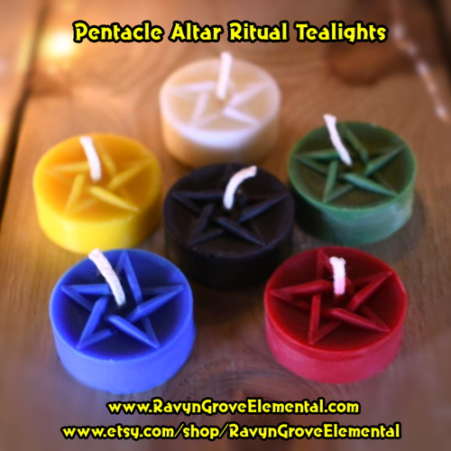 Pentacle Altar Ritual Pagan Wicca Witchcraft Shamanic Solomonic Conjure Hoodoo Tealights crafted by Ravyn Grove Elemental LLC.