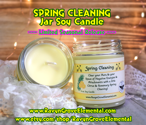 Ravyn Grove Elemental crafted their SPRING CLEANING CITRUS & ROSEMARY Soy Jar Candle to clear your aura & space of negative energies, entities, and attachments!
