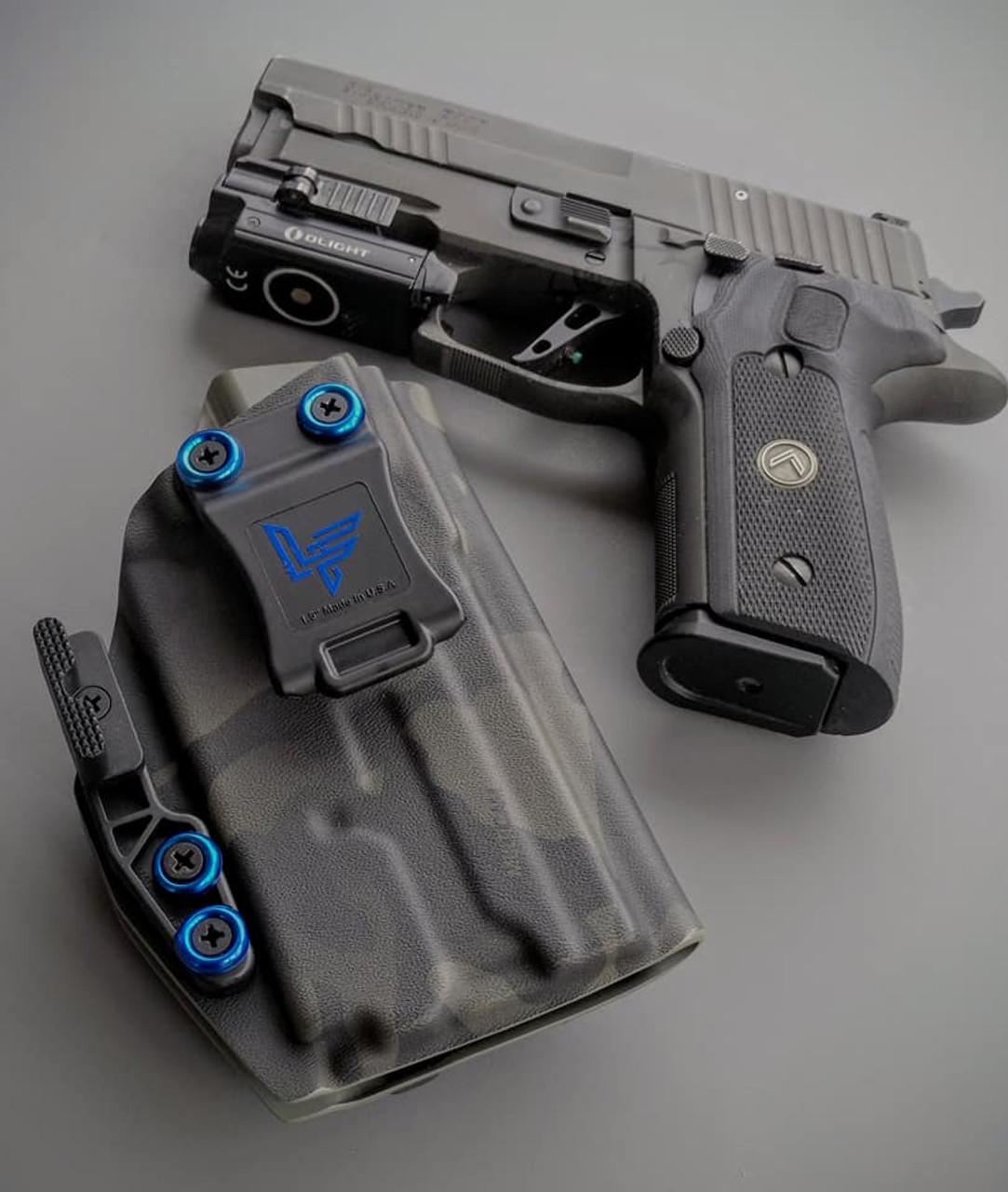 Sig P229  with O-Light Mini Black Multicam Holster