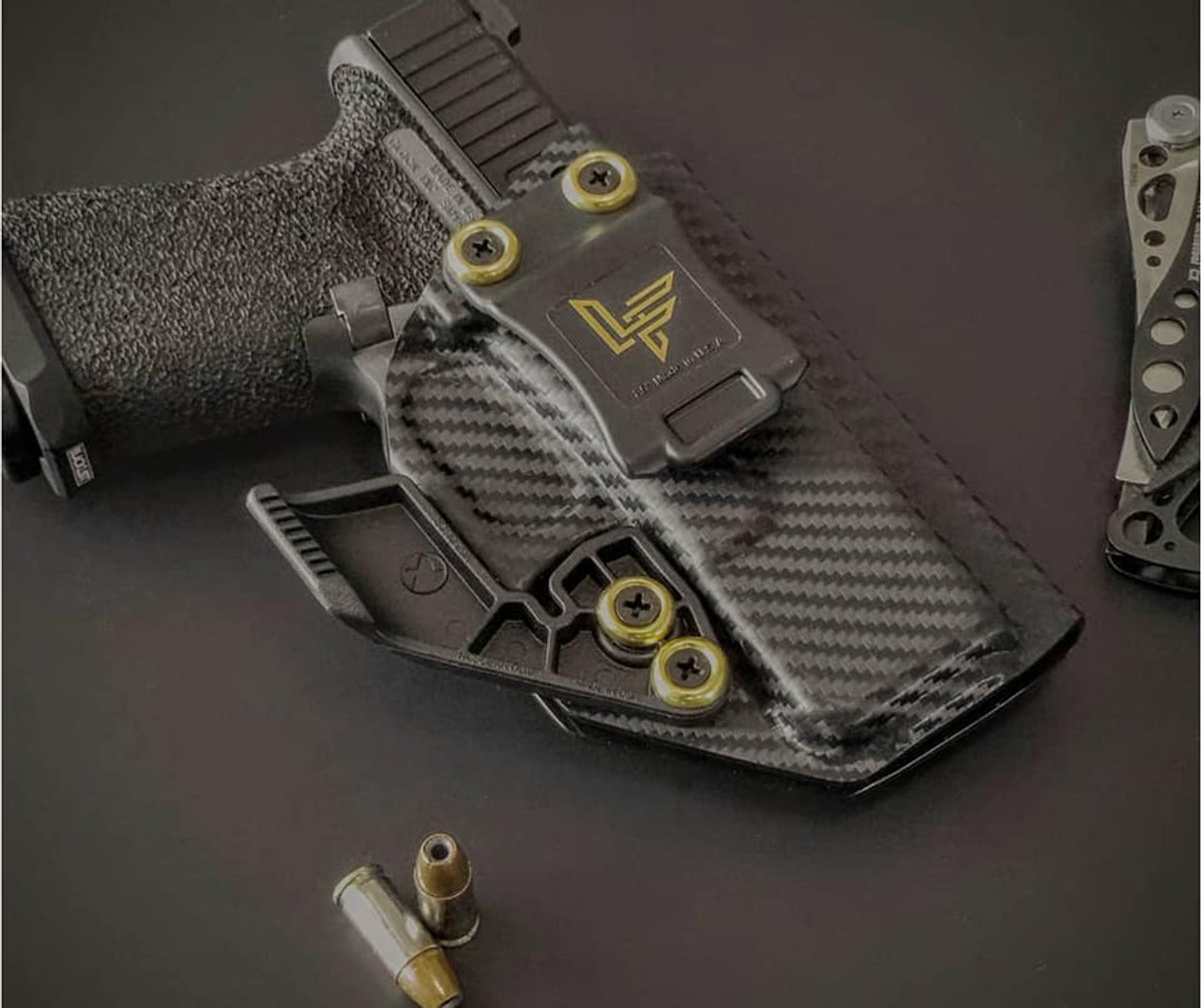 Glock 19 Carbon Fiber Appendix Carry Kydex Holster with Gold Finish Washers