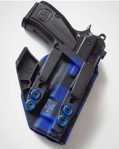 CZ PCR Dual Hook Appendix Carry Holster Blue Flannel