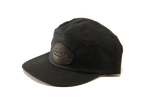 Heritage black waxed canvas and leather logo hat