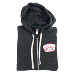 Charcoal Frost River Crossed Paddles Zip Hoodie with wedge patch.