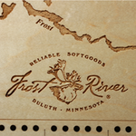 Frost River Cribbage Board with laser engraved Frost River logo.