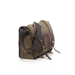 The side view shows the high quality leather and waxed canvas flap that closes the Vintage Messenger Bag. This product also has two solid brass posts that ensure a good closure.