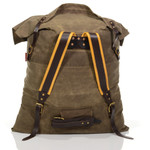 There's a waist-belt at the bottom and a tumpline at the top. It and all the other Frost River packs and bags are made in the USA at Frost River.
