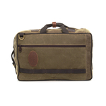 There are backpack straps and carrying handles on the side and top to give many options for transporting this pack. This bag is made of waxed canvas and solid brass hardware to ensure that it lasts for years to come.