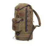 Summit Boulder Jct. side view. Several brass rings along each side of the pack offer compression to manage pack loads.