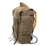 The cord lacing provides a bit of compression and a way to stow extra gear to the side of a pack.