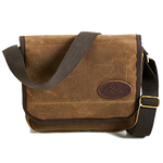 This bag is crafted from waxed canvas, solid brass hardware, and a cotton webbed strap to ensure durability and stability.