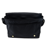 The interior of this bag is roomy and has many organizational compartments.