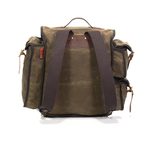 The shoulder straps are made of webbed cotton and a leather handle was installed on top of the bag for added ease of picking up.
