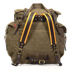 The padded buckskin straps, tumpline, and waist-belt are features of this pack that add comfort.
