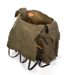 The high quality waxed canvas flaps and leather straps keep the contents of the pack securely inside while adventuring.