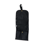 Heritage Black RollUp Travel Kit with 2 mesh zippered pockets and and large pleated pocket with snap at the bottom. Made in the USA.