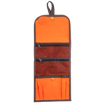 Hunter Orange RollUp Travel Kit with 2 mesh zippered pockets and and large pleated pocket with snap at the bottom.