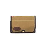 The Roll Up Travel Kit by Frost River is made of waxed canvas and solid brass hardware. This item will last for years to come and is sure to hold all of your toiletries.
