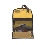 RollUp Travel Kit in Field Tan lightweight waxed canvas, made in USA. Ability to hang or roll-up.