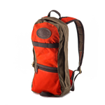High Falls -short day pack No.399 by Frost River in Hunter Orange on the Superior Hiking Trail in Duluth, MN near to where this pack is made. The person wearing the pack seems comfortable and unburdened by the load. The straps and pack conform to the persons back. It seems to work great.