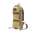 High Falls -short day pack No.399 by Frost River internal layout. Field tan waxed canvas inside and out. The long zipper allows the pack to open wide. Twin pulls provide the exit of a water bladder hose to poke out where you like it. A full length pocket at the back of the pack provides storage of long items. Two lengths of webbing run horizontally on the front , one on the outside and one inside to provide lash points on the front of the pack.