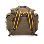 The padded buckskin straps and tumpline are features of this pack that add comfort.
