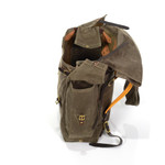The high quality waxed canvas flaps and leather straps keep the contents of the bag securely inside while adventuring.