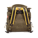 The tumpline and padded buckskin straps add comfort and options for how to carry you Frost River Woodsman pack.