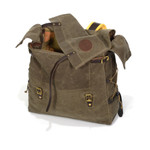 The waxed canvas flaps and leather straps securely close the pack so that your goods are kept in place on your adventure.