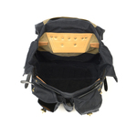 The interior has lots of space to carry all of your goods on your adventure. The waxed canvas, premium leather, solid brass hardware, and buckskin straps make this bag as strong as possible. This bag is made in the USA.