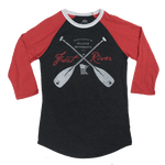 Charcoal and Red Crossed Paddles Frost River Baseball Tee, Front.