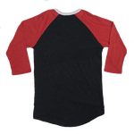 Charcoal and Red Crossed Paddles Frost River Baseball Tee, Back.