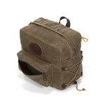 The waxed canvas pocket on the front of the pack is great for sunglasses, sunscreen, bug spray, or a few snacks.