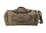 The medium Laurentian luggage is crafted from waxed canvas, premium leather, and solid brass hardware. This item is durable and strong.