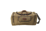 The large Laurentian luggage is crafted from waxed canvas, premium leather, and solid brass hardware. This item is durable and strong.