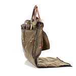 The front pocket has enough room for a pair of shoes or other items that you need for your event.