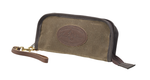 The North Shore Clutch by Frost Fiver is made of waxed canvas, premium leather, and solid brass hardware.