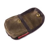 Canvas belt pouch with solid brass snap closure.