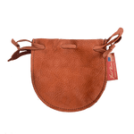 The Buckskin Drawstring Pouch in the color Saddle is made of deerskin and is crafted in the USA at Frost River.