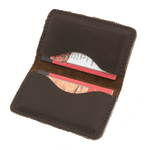 This wallet has two pockets to hold business cards, credit cards, or identification. It is durable and only gets better with time.