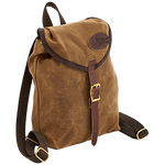 The Mini Knapsack is made in America and crafted from waxed canvas, premium leather, and solid brass hardware.
