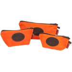 The Hunter Orange Accessory Bags by Frost River are available in three sizes. They are made of waxed canvas and durable zipper at Frost River in Duluth, MN.