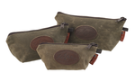 The Field Tan Accessory Bags by Frost River are available in three sizes. They are made of waxed canvas and durable zipper at Frost River in Duluth, MN.
