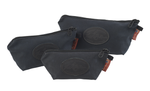 The Heritage Black Accessory Bags by Frost River are available in three sizes. They are made of waxed canvas and durable zipper at Frost River in Duluth, MN.