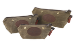 The Field Tan Accessory Bags with snaps by Frost River are available in three sizes. They are made of waxed canvas and durable zipper at Frost River in Duluth, MN. The snaps allow for the bags to be attached to each other or other Frost River items.