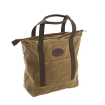 This tote is a great beach and pool tote that is sure to hold everything. The weather resistant waxed canvas and cotton shoulder straps make this bag durable and long lasting. A zipper on top keeps everything inside and added pockets keep your items organized.