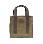 The versatile Lake Huron tote can hold groceries, books, or anything else you may want to carry. It is crafted in the USA from waxed canvas and leather to make it durable.